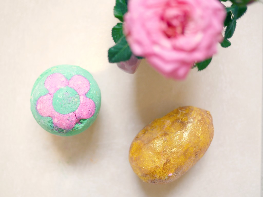 Secret Garden bath bomb and Golden Egg bath bomb melt - lush cosmetics - easter