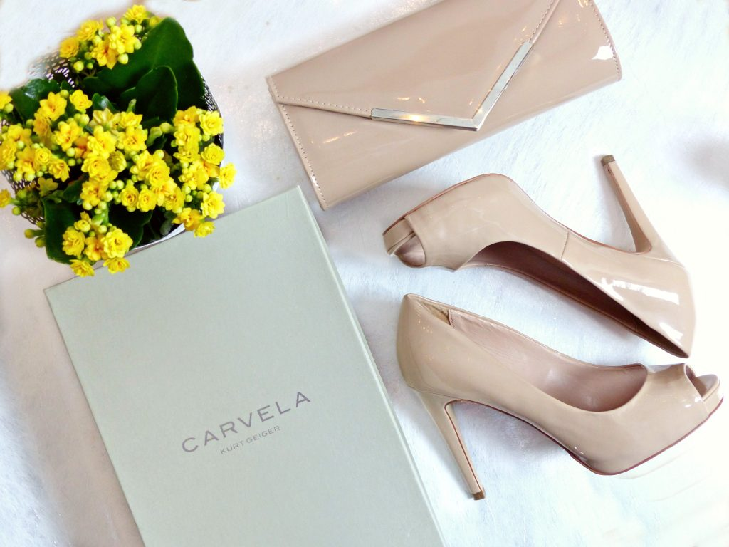carvela kurt geiger nude heels and clutch bag