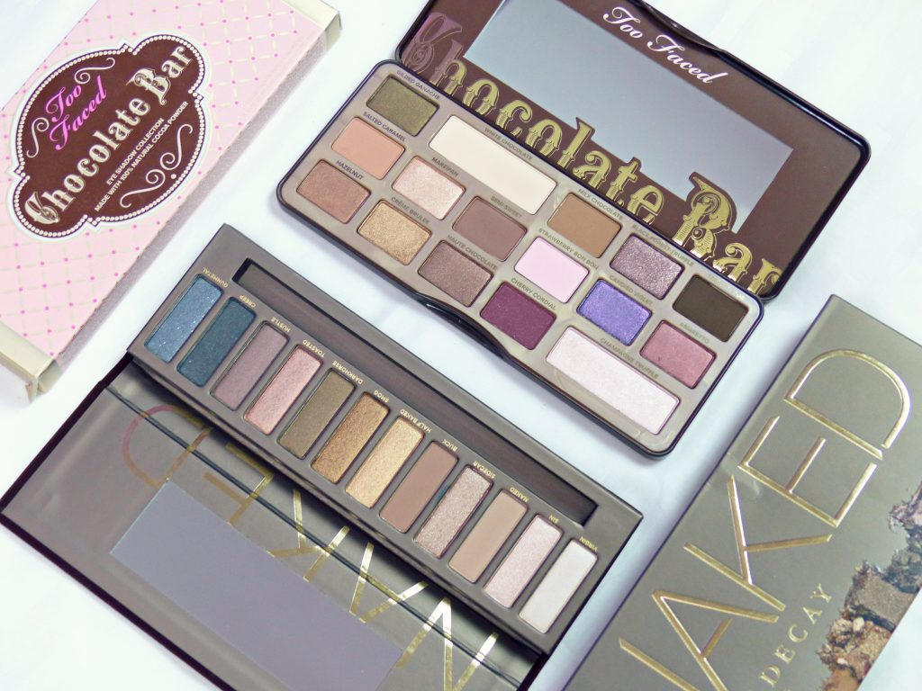 urban decay naked palette & too faced chocolate bar palette